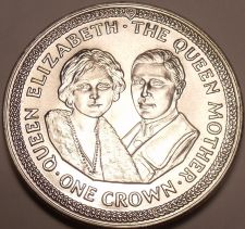 Buy Massive Gem Unc Isle Of Man 1985 Crown~The Queen Mother And Prince Phillip~Fr/Sh