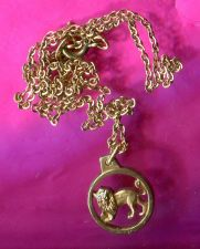 Buy Vintage Leo Lion Zodiac Charm or Pendant & Chain : By Krementz W. Germany