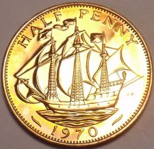 Buy Super Proof Great Britain 1970 Half Penny~The Golden Hind~Last Year~Free Ship