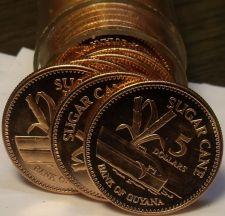Buy Gem Unc Roll (40 Coins) Guyana 1996 5 Dollars~Sugar Cane~$200 Total~Free Ship