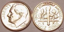Buy 1981-D BRILLIANT UNCIRCULATED ROOSEVELT DIME~FREE SHIP~