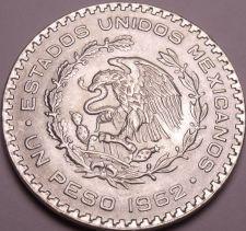 Buy Huge Gem Unc Silver Mexico 1962 Peso~INDEPENDENCIA Y LIBERTAD~Fantastic~Free Shi