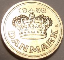 Buy Gem Uncirculated Denmark 1998 25 Ore~Beautiful Crown~Free Shipping