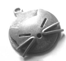 Buy Vintage Silver Charm 15mm Round Cat Face
