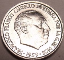 Buy Gem Unc Spain 1959 10 Centimos~Only Year Ever Minted~Francisco Franco~Free Ship