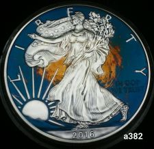Buy 2016 Rainbow Monster Toned Silver American Eagle 1oz fine with velvet case #a382