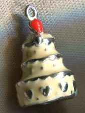 Buy STERLING ENAMEL CHARM : WEDDING VALENTINES BIRTHDAY CAKE w/ VANILLA CREAM ICING