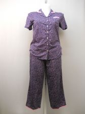 Buy SIZE M Women 2PC PJ Set SECRET TREASURES Floral Notched Collar Cropped Pants