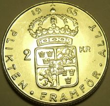 Buy Huge Silver Sweden 1965-U 2 Kronor~We have Gem Unc Silver Coins~Free Shipping