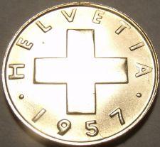 Buy Gem Unc Switzerland 1957-B Rappen~Cross~We Have Gem Unc Coins~Free Shipping