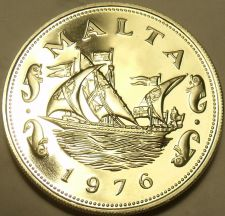 Buy Large Rare Proof Malta 1976 10 Cents~Barge Of The Grand Master~26k Minted~Fr/Shi