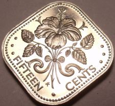 Buy Rare Proof Bahamas 1974 15 Cents~Hibiscus~Triangle Coin~31,000 Minted~Free Ship