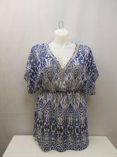 Buy SIZE L Womens Sheer Swimsuit Cover Up ELLEN WEAVER Embellished Neck Kimono Sleev