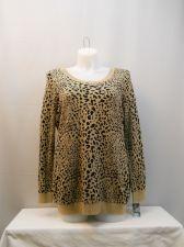 Buy PLUS SIZE 2X Tunic Sweater INC Black Gold Animal Scoop Neck Long Sleeves