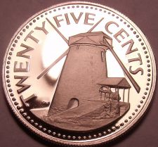 Buy Cameo Proof Barbados 1975 25 Cents~Morgan Lewis Windmill~Only 20k Minted~Fr/Ship