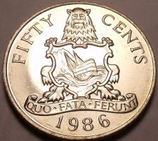Buy Rare Large Gem Unc Bermuda 1986 50 Cents~60,000 Minted~National Arms~Free Ship