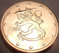 Buy Gem Uncirculated Finland 2000 2 Euro Cents~Standing Lion~New Millenium~Free Ship
