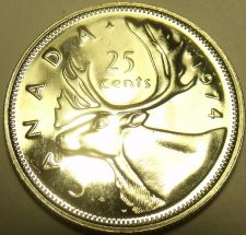 Buy Proof Canada 1974 25 Cents~Elizabeth II~Caribou~213,589 Minted~Free Shipping