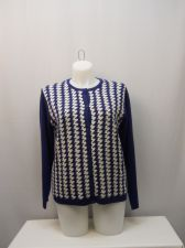 Buy Haband Women's Button Front Cardigan Size L Blue Geometric Long Sleeves Crewneck