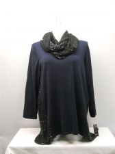 Buy Plus Size 2X Women's Sweater Scarf Set STYLE&CO. Navy Sequins Asymmetrical Hem