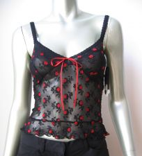 Buy X324 Papillon Blanc NEW 6226 Black Sheer Mesh Floral EmbroideryTank Top Camisole
