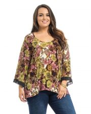 Buy Takuni Olive Floral 3/4 Black Lace Trim Sleeves Scoop Neck Knit Top Size 1X-3X