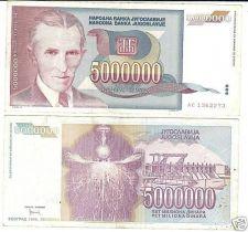 Buy YUGOSLAVIA HUGE 5 MILLION DINARA NOTE~~FREE SHIPPING~~