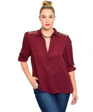 Buy Janette Plus Jeweled Button Closure PeekaBoo Cutout Top Junior Plus Size 1XL-3XL