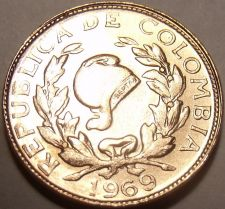 Buy Unc Colombia 1969 Centavo~Coffee Beans And Cornucopia~Free Shipping