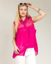 Buy Roman Hot Pink Studded Lace Yoke Sleeveless Button Down Sheer Top Size 1X-3X