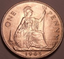 Buy Huge Unc Great Britain 1963 Penny~Britannia Seated Right~Excellent~Free Shipping
