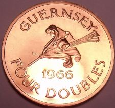Buy Rare Proof Guernsey 1966 4 Doubles~Only 10,000 Ever Minted~~Free Shipping