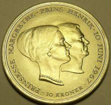 Buy Massive Gem Unc Silver Denmark 1967 10 Kroner~Wedding Of Princess Margrethe~Fr/S