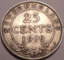 Buy Rare Silver Canada Newfoundland 1919 25 Cents~Only 163,939 Minted~Free Shipping