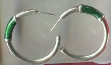 "Buy Hoop Earrings : Iridescent Green ""C"" On Sterling Silver"