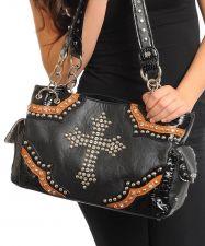 Buy Fashion Black Rhinestoned Cross Faux Leather Handbag