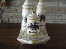 Buy Salt & Pepper Shakers w/Mustard Hand Painted w/Tray UNIQUE Antique