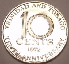 Buy Proof Trinidad & Tobago 1972 10 Cents~10th Anniversary Of Independence~Free Ship