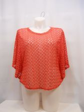 Buy Womens Top Size XL Style&Co Crocheted Cerise Red Flutter Sleeve Scoop Neck Sheer