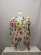 Buy SIZE L Womens Swimsuit Cover Up Wrap OP Sheer Floral Kimono Sleeves Fringed