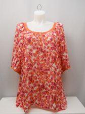 Buy Krazy Kat Women's Peasant Top Plus Size 3X Sheer Coral Floral Short Puff Sleeves
