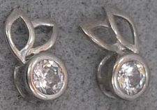 Buy Sterling Silver C Z Bunny Ears Post Earrings Signed KL
