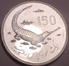 Buy Massive Rare Silver Proof Pakistan 1976 150 Rupees~Gavial Crocodile~Free Ship~