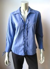 Buy edward NEW Blue Textured Stretch Cotton Gathered 3/4 Sleeve Pull Over Shirt M PR