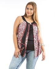Buy Dila Jeweled Red Animal Print Layered Sleeveless Knit Halter Top Size 1X-3X