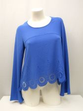 Buy SIZE M Womens Crop Top SELF ESTEEM Blue Long Bell Sleeves Cut Out Scalloped Hem