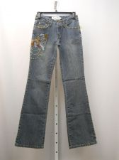 Buy Milano Moda Women's Stonewashed Embellished Boot Cut Legs 30X32 Jeans Size 7/8
