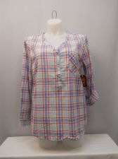Buy SIZE XL Womens Shirt FADED GLORY Striped 3 Button V Neck Long Sleeves Pullover