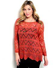 Buy Zenobia Women's Sweater Crocheted Lace Tunic Pullover Asymmetrical Hem Rust