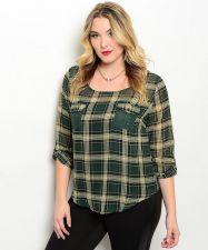 Buy E M Too Women's Tunic Top Size 1XL-3XL Sheer Green Plaid Lace Yoke Scoop Neck